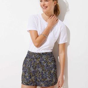 Loft Crepe Pull On Shorts Dotted Navy Blue Large